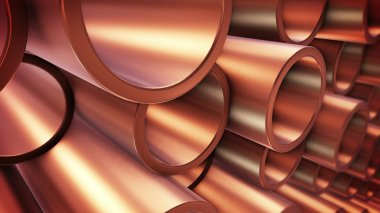 Copper pipes on warehouse
