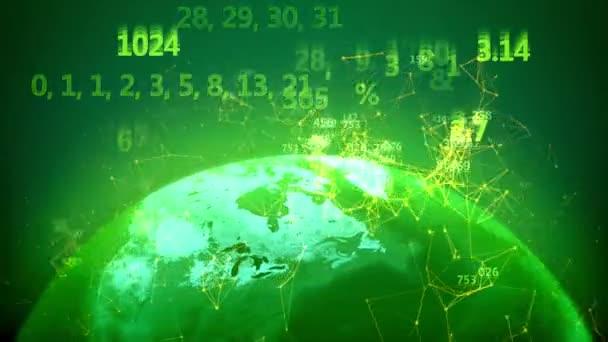 Erdkugel mit digitalen Zahlen