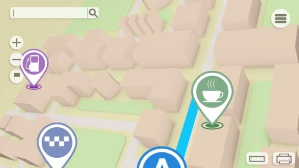 GPS mapy navigace s bloky a značky