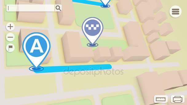 Animace mapa města s ikonami Gps