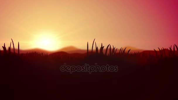 Dawn animace s silueta z trávy