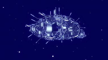 robot brain with sparkling circuits