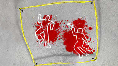 Crime scene with a bloody smudge