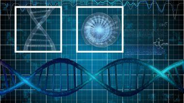 DNA Illustration on Blue Grid