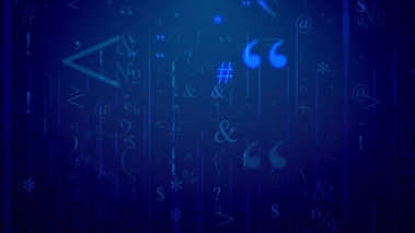 3d rendering of soaring cyberspace signs on blue holographic background