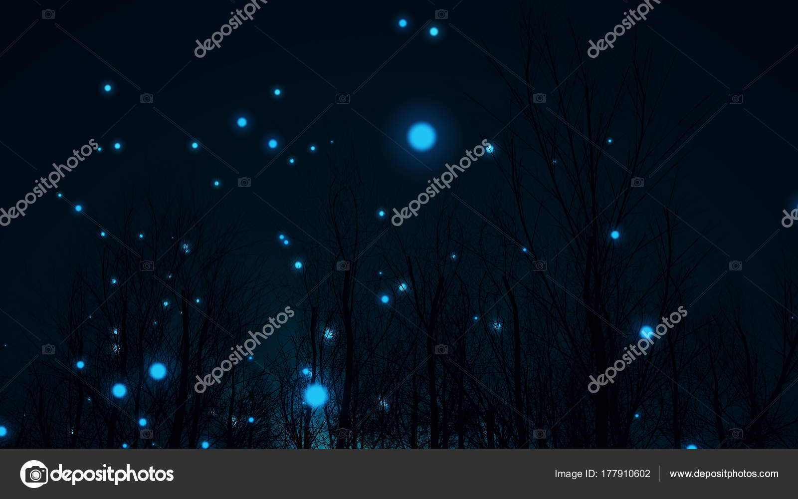ball lightning in a dark forest stock photo klss777 177910602
