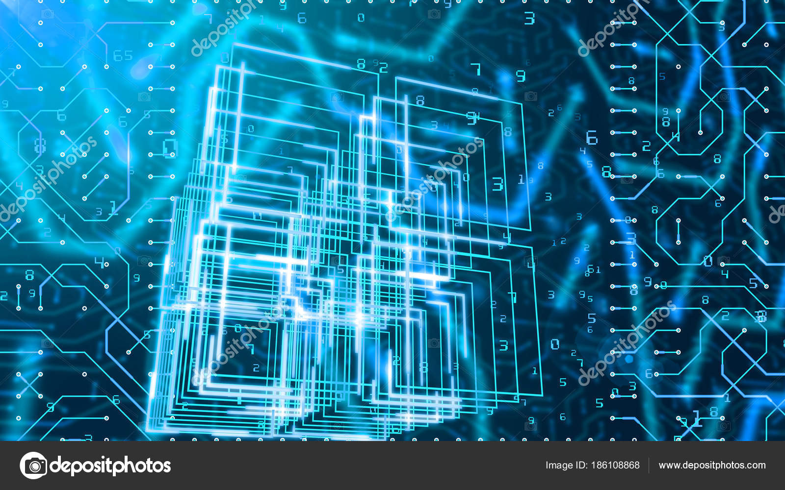 Graphics Illustration Circuit Board Looking Portal Four Askew ...