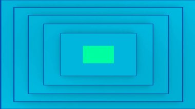 An op art 3d illustration of a rectangular background composed of turquoise stripes. It looks like an optimistic retro tube. A light salad spot is in the center.