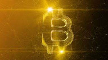 A gorgeous 3d illustration of a beautiful bitcoin sign turned slightly aside. It sways in the center of a golden and brown cyberspace with narrow internet connections.