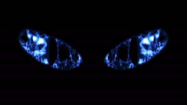 Félelmetes fekete macska szeme villog