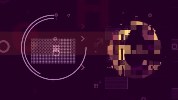 Techno pozadí abstraktní s Pixel oblastmi. Bohémský 3d vykreslování klesající žluté a zlaté písmen v holografické kyberprostoru pokryté světlých pixelů a postavy v tmavě fialové barvě. Loopable