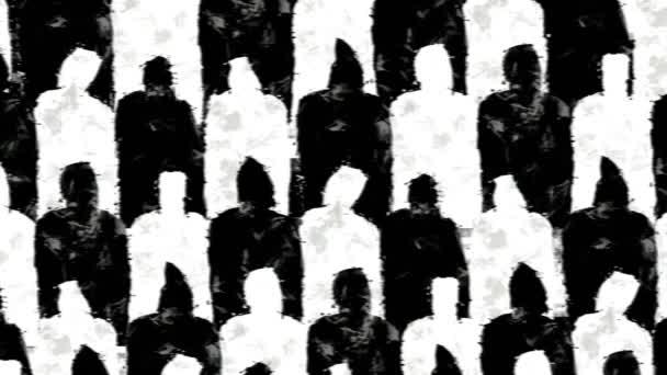 fekete-fehér sziluettek zsúfolt emberek.