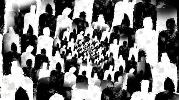 Black and white crowded humans silhouettes