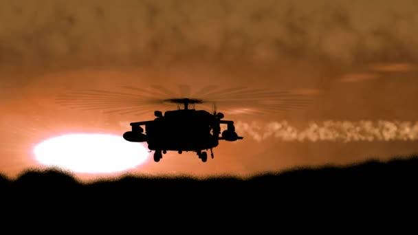 Silhouette of a military helicopter arises from a hill and turns by its side