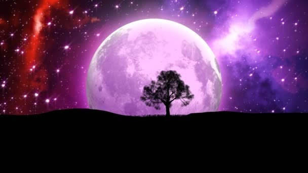 The Moon Planet and Lonely bare tree silhouette on nebula space background.