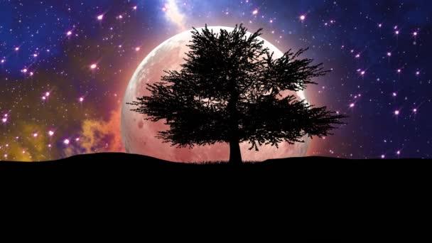 Fantasy 3D animáció a Hold bolygó köd háttér és fa sziluett.
