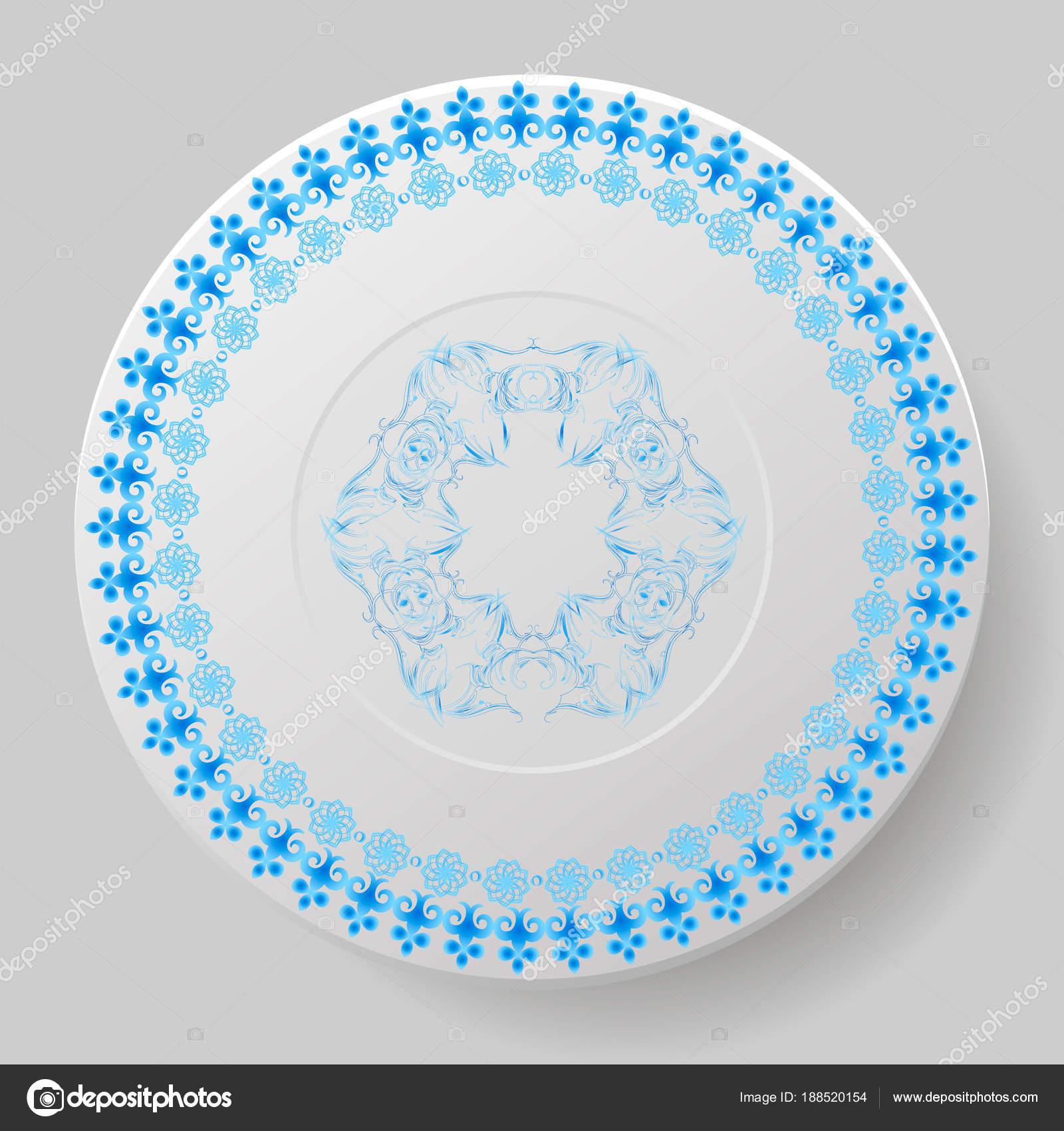 Beautiful Plate Decorated Blue Ornament u2014 Stock Vector  sc 1 st  Depositphotos & Beautiful Plate Decorated Blue Ornament u2014 Stock Vector © Oreora ...