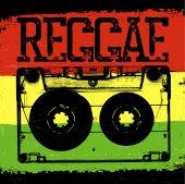 Fotografie Audiokassette und Reggae-Schriftzug