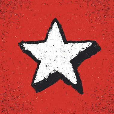 Five-pointed star grunge icon.