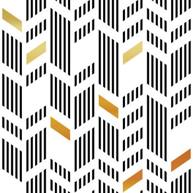 Seamless Gold and Black Chevron Pattern
