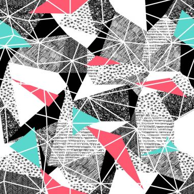 pattern with Pink and Blue Triangles