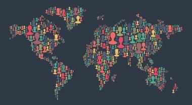people avatars in shape of world map shape