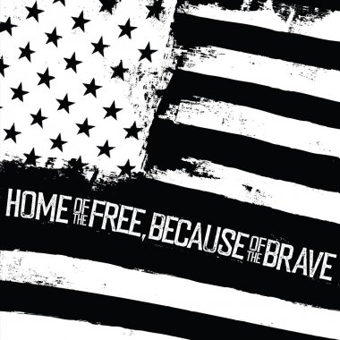 Monochrome typography quote on American Flag