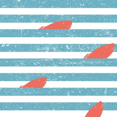 Marine background with red fish seamless.