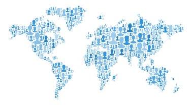 portraits placed as world map shape