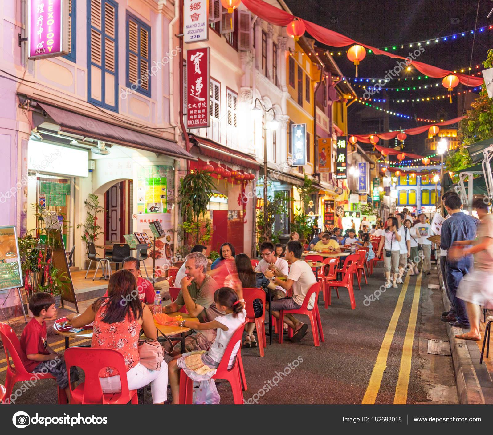Chinatown Restaurants In Singapore Stock Editorial Photo