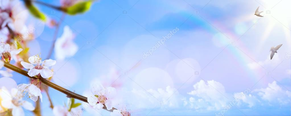 art Spring flower background; Easter landscape