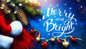 Kunst frohe und helle Weihnachten und ein glückliches neues Jahr Grußkarte