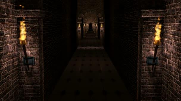 Video di ciclo corridoio oscuro castello medievale
