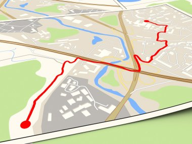 city map with red route