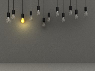 concrete background with lamps