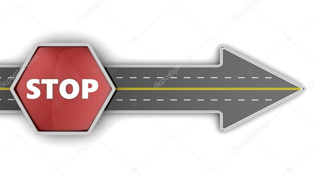 road arrow and Stop sign