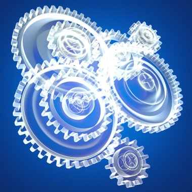 six clear mechanical gear wheels