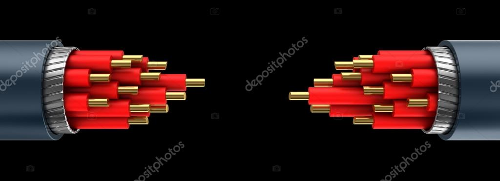 zwei rote Kabel Verbindung — Stockfoto © mmaxer #128142096