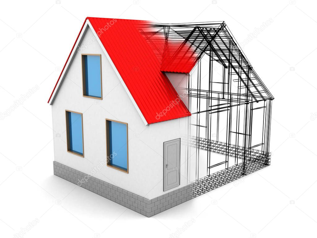 3d illustration of house construction frame with red roof on white background photo by mmaxer - Home Construction Diagram