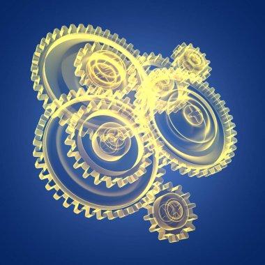 transparent gear wheels