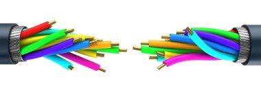 colored fiber optics cables connection