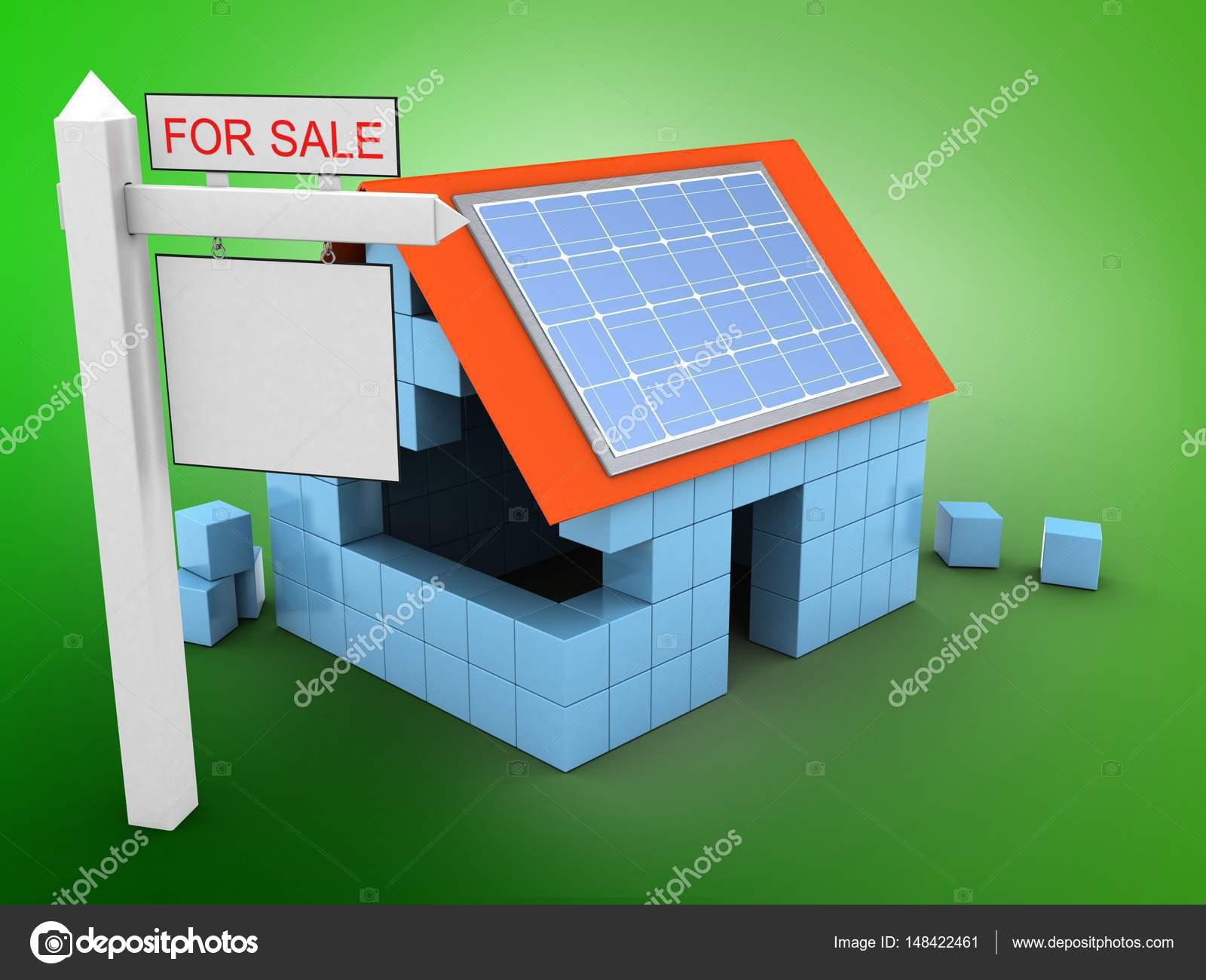 770d009bb1b casa com painel solar e sinal de venda — Fotografias de Stock ...