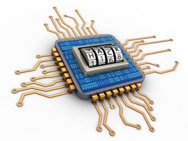3d microchip with code dial and binary code