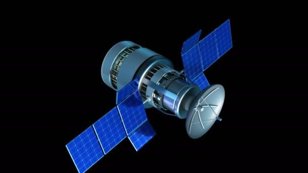 animation of flying satellite