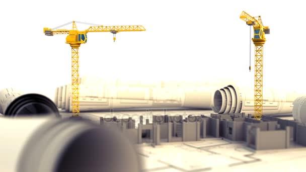 dva jeřáby a stavební konstrukce