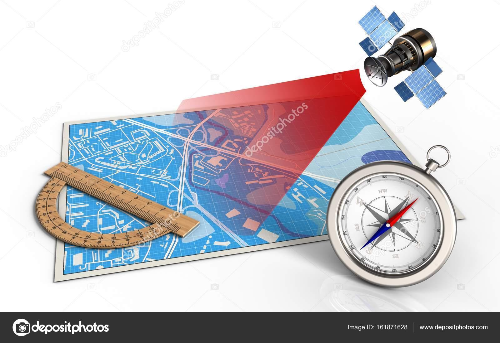 3d műholdas térkép a szögmérő, műholdas térkép — Stock Fotó © mmaxer #161871628 3d műholdas térkép