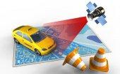 Mapa s taxi a satelitní