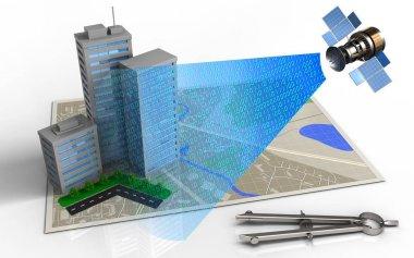 city buildings and satellite digital signal
