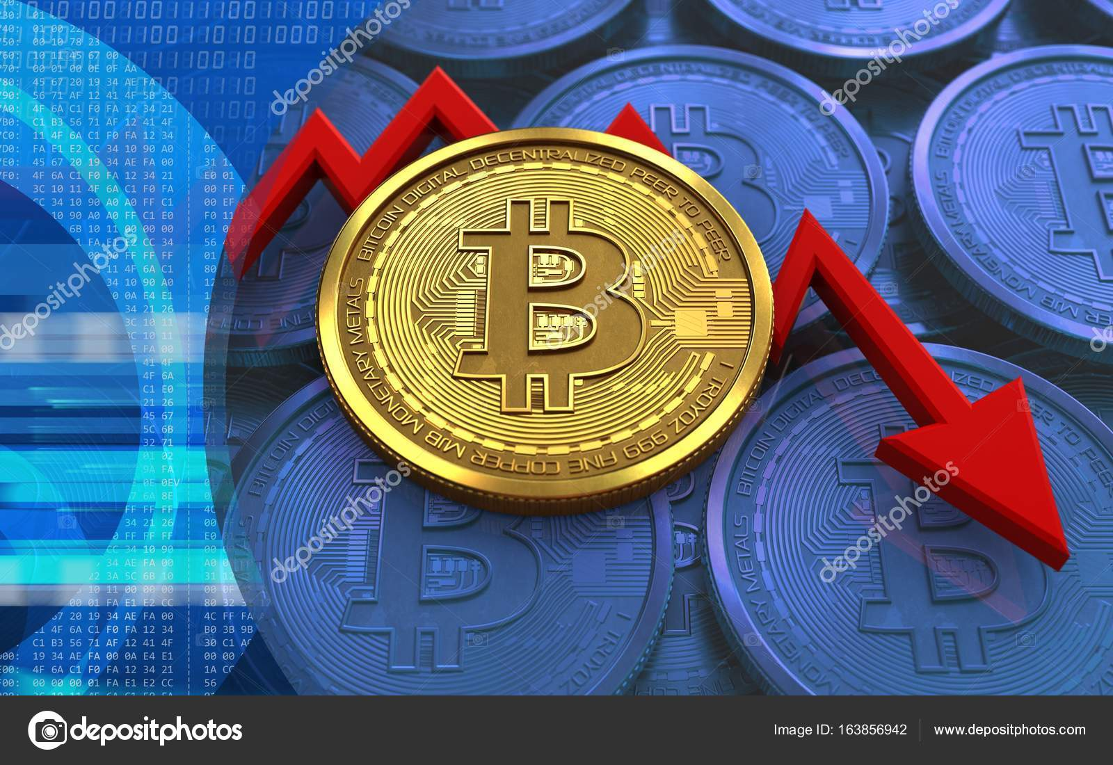 3d illustration of bitcoin over blue coins background with failure diagram  — photo by