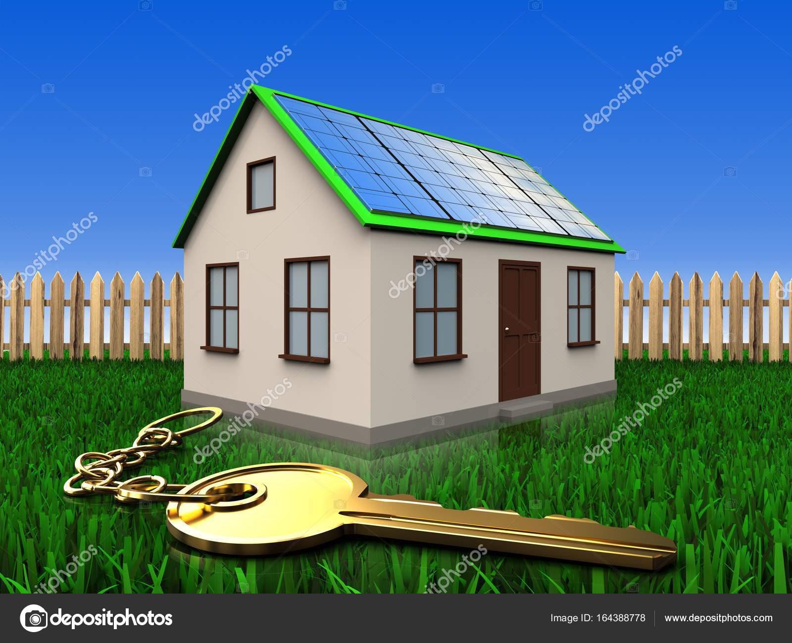 Charming 3D Abbildung Des Hauses Mit Solar Panel Mit Goldenen Schlüssel über Rasen  Und Zaun Hintergrund U2014 Foto Von Mmaxer